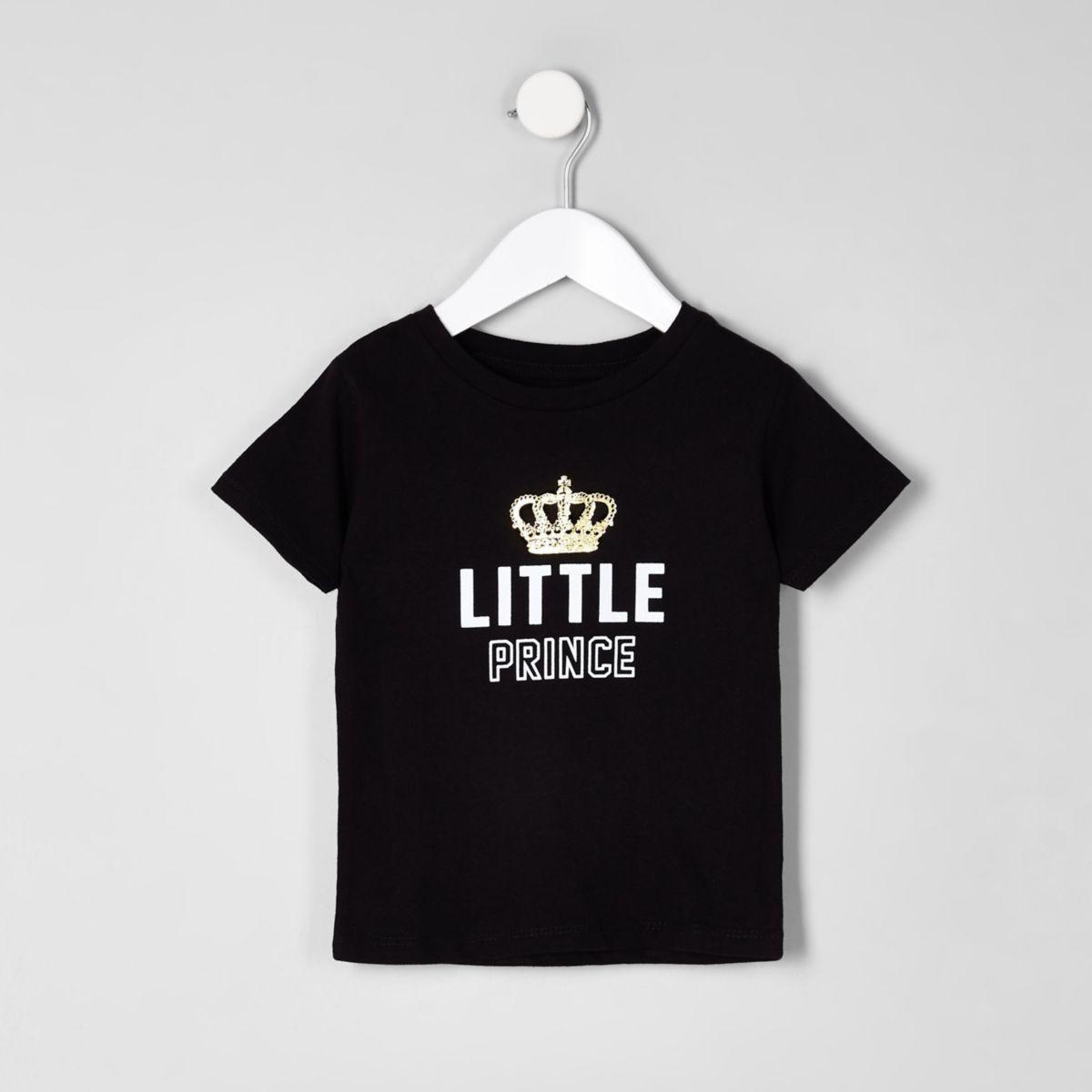 Mini boys 'little prince' black T-shirt