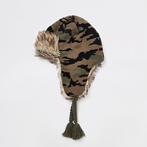 Boys khaki camo faux fur trim trapper hat