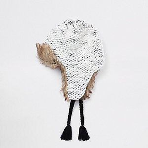 Boys grey knit faux fur trim trapper hat