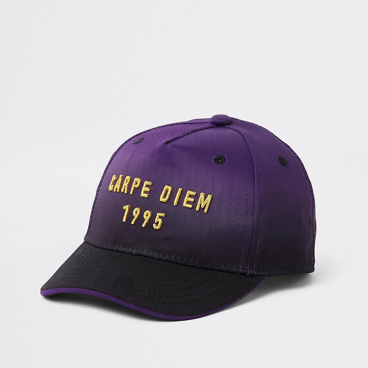 Mini boys purple ombre 'carpe diem' cap