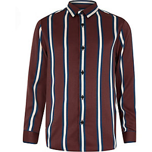 Boys brown stripe long sleeve shirt