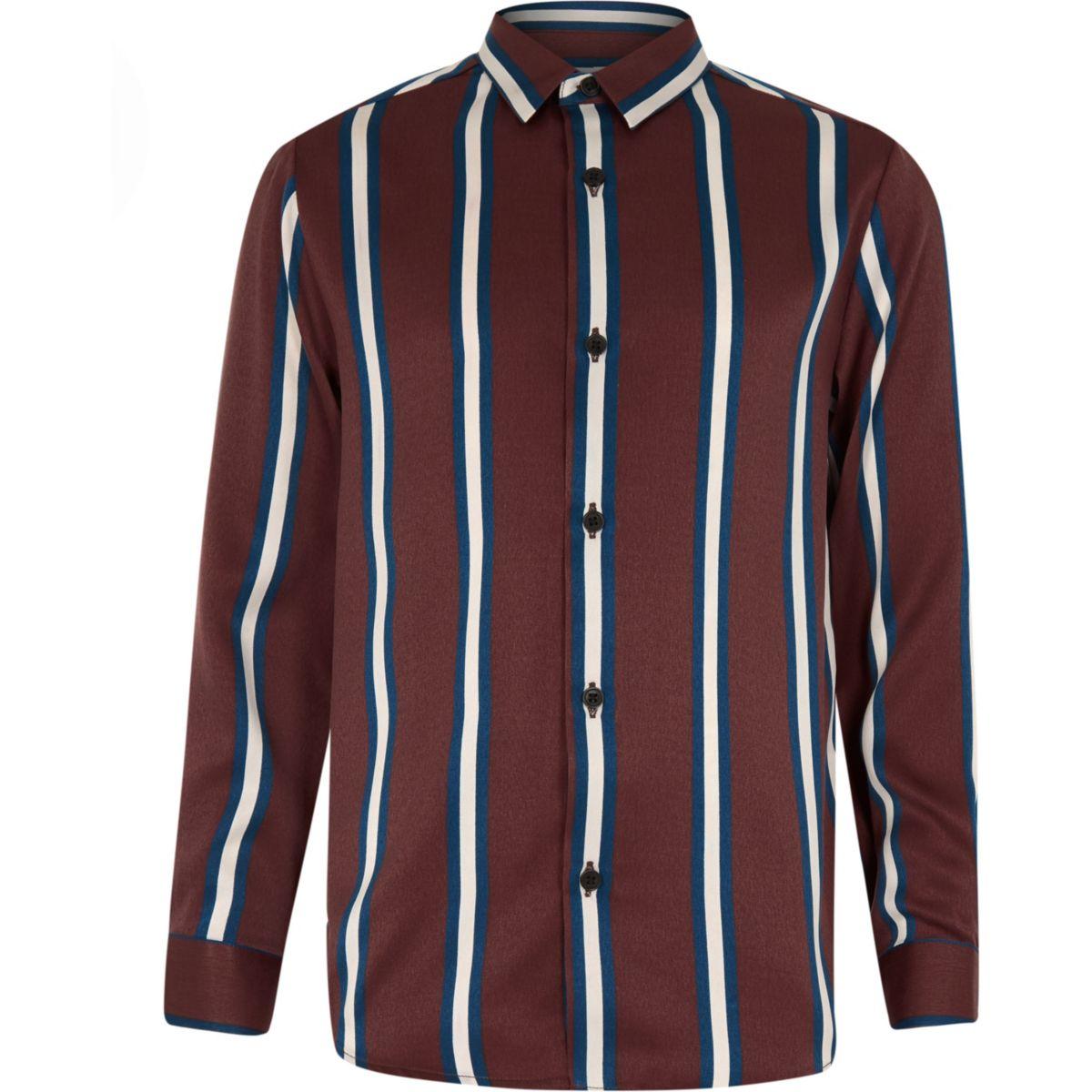 Boys brown stripe long sleeve shirt