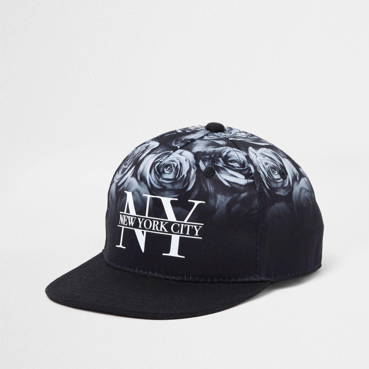 Boys black rose flat peak cap