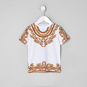 Mini boys white chain print T-shirt