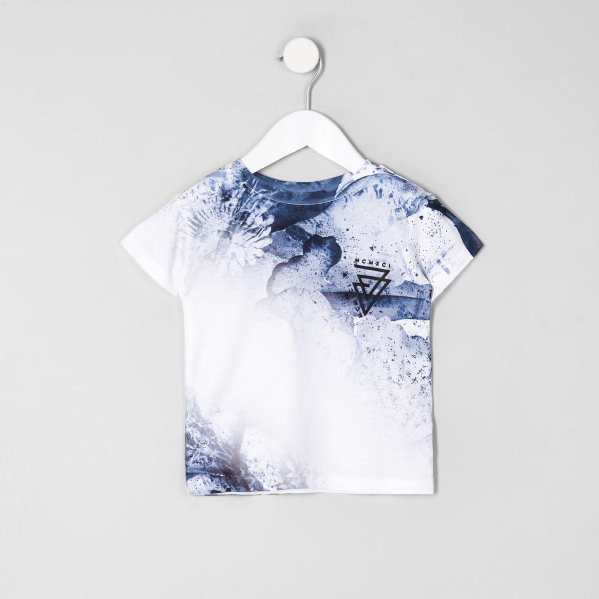 Mini boys blue 'MCMXCI' print T-shirt
