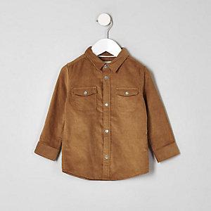 Chemise en velours côtelé marron clair à manches longues mini garçon
