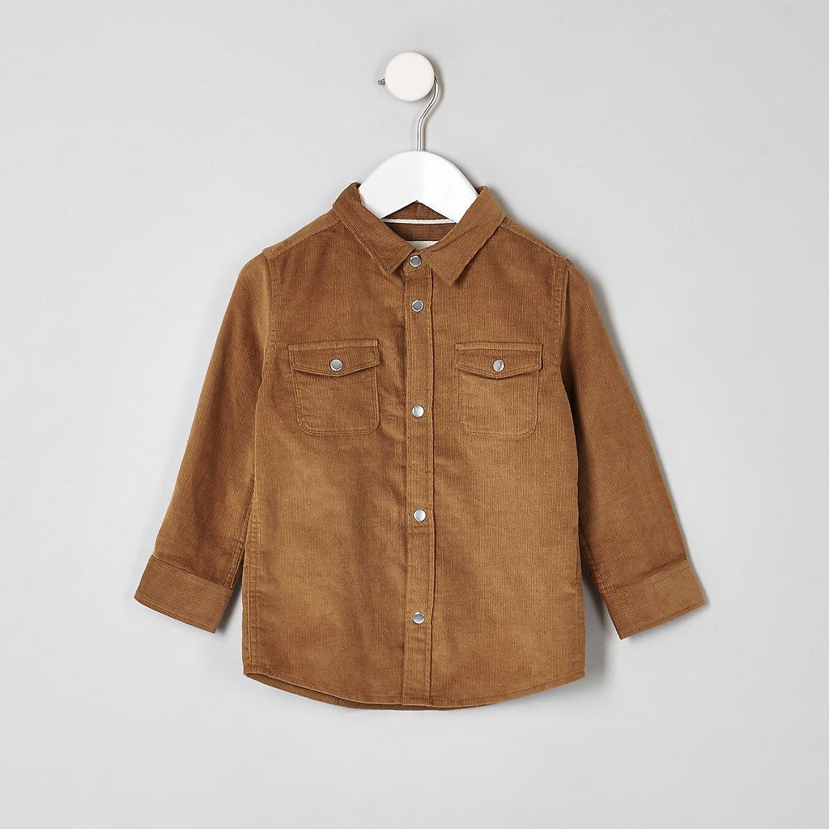 Mini boys light brown long sleeve cord shirt