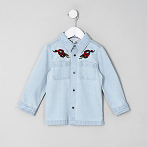 Mini boys light blue denim snake shacket