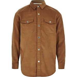 Chemise en velours côtelé marron clair à manches longues garçon