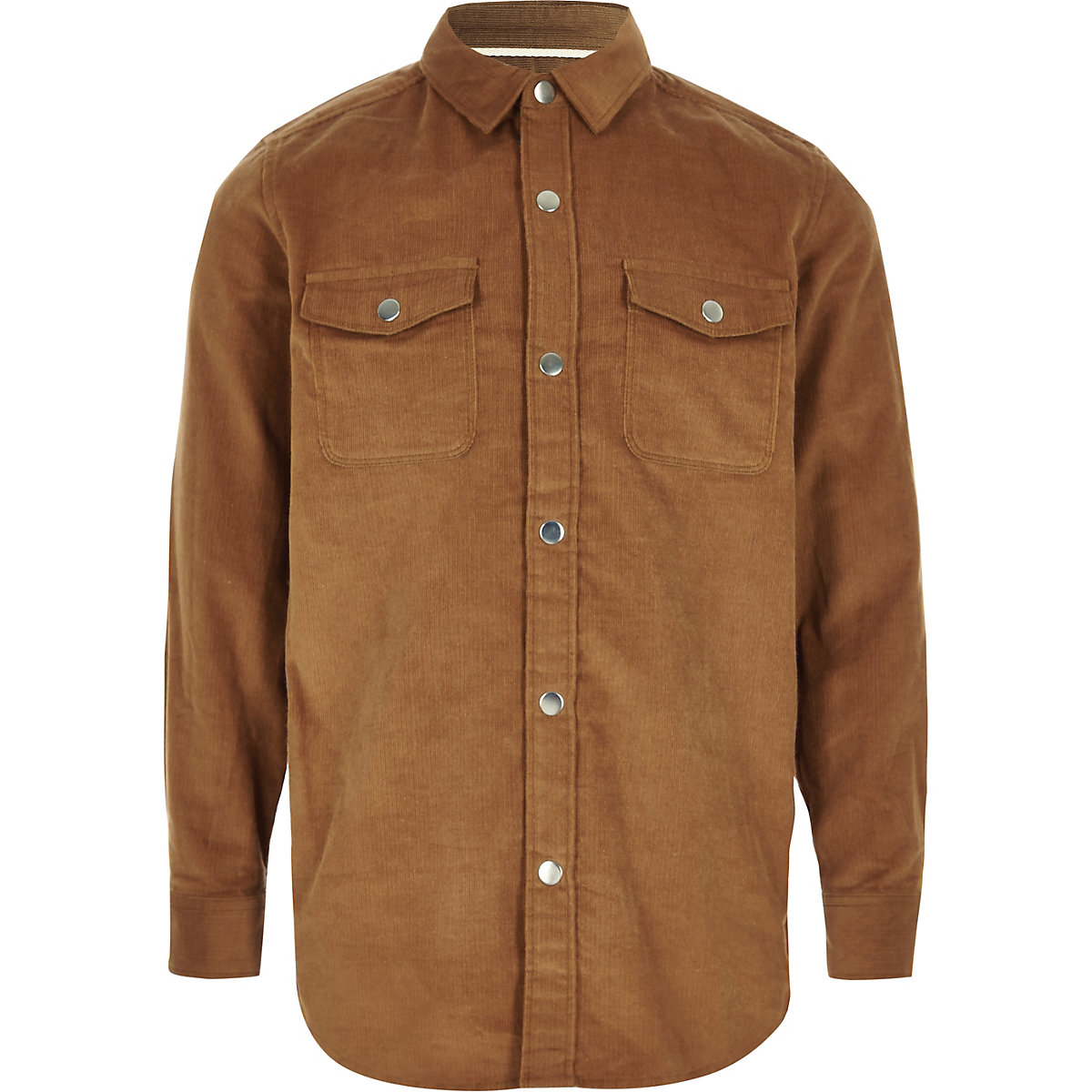 Boys light brown long sleeve cord shirt