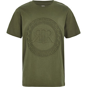 Boys khaki RI embossed T-shirt