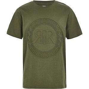 Kaki T-shirt met RI-logo in reliëf voor jongens