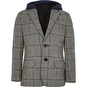 Boys grey check side tape hooded blazer