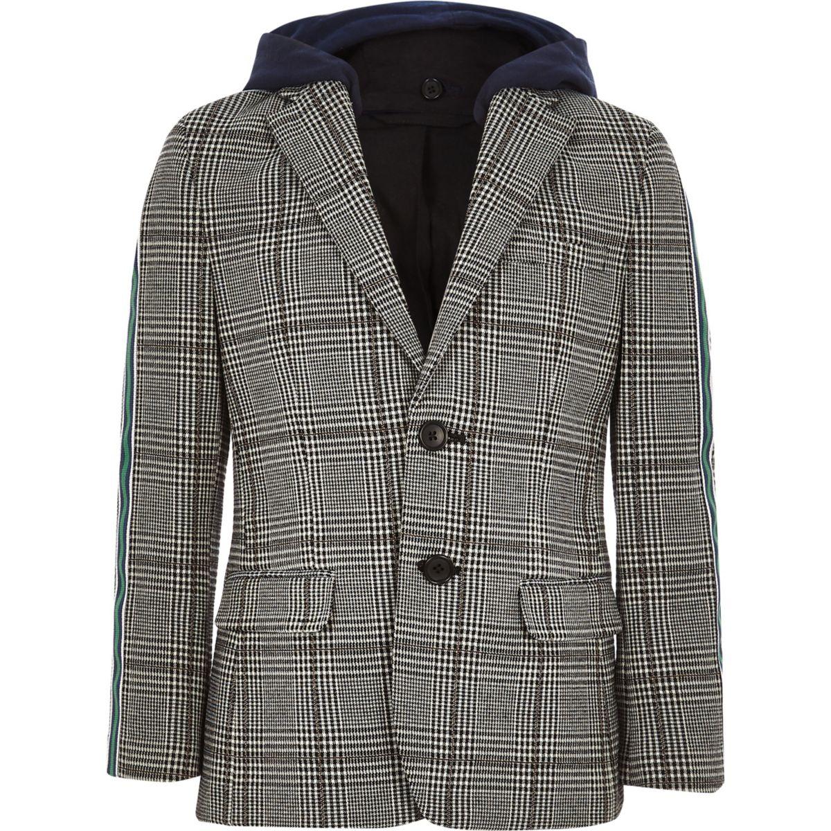 Boys grey check side tape hooded blazer