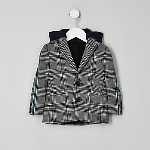 Mini boys grey check side tape hooded blazer