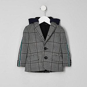 Blazer gris à capuche et bande à carreaux sur le côté mini garçon