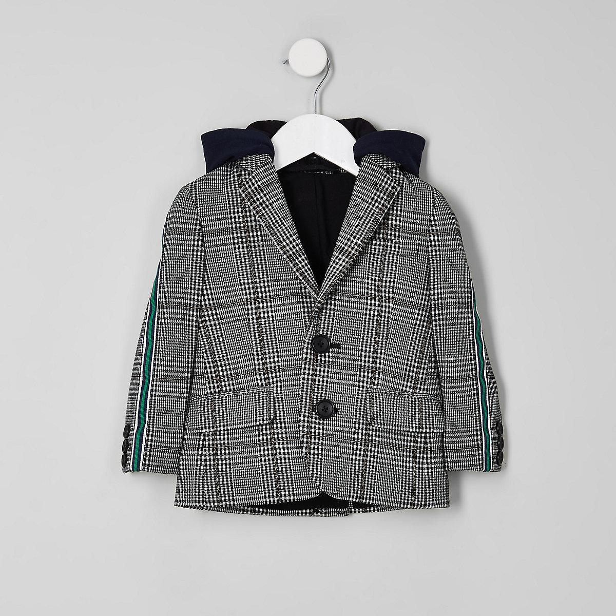 Mini boys grey check side tape hooded blazer