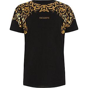 T-shirt imprimé «exclusive» métallisé doré pour garçon
