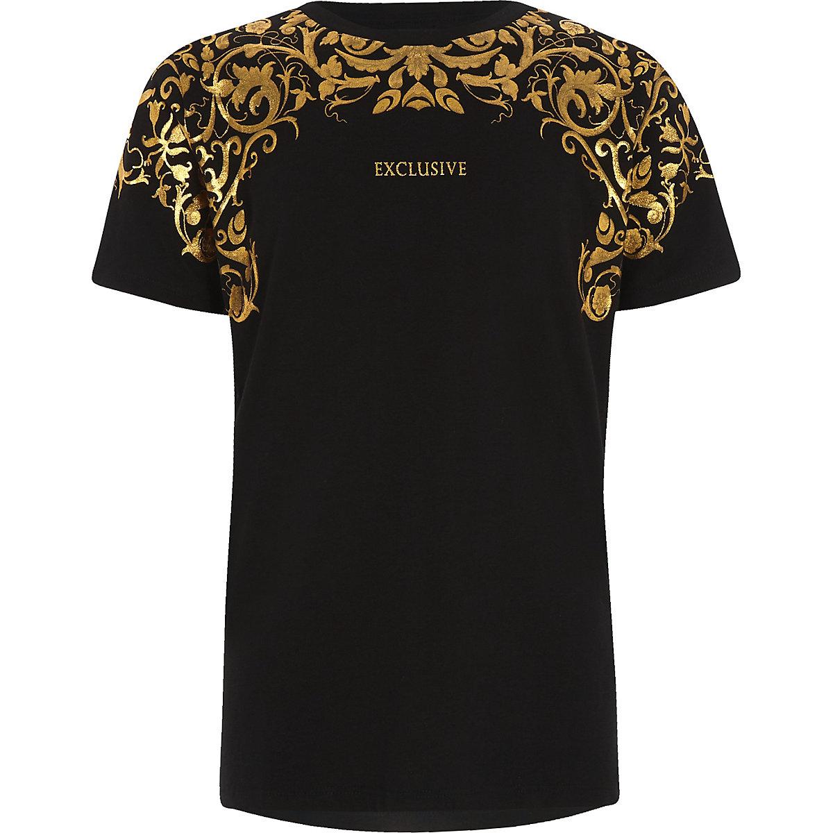 Boys 'exclusive' gold foil print T-shirt
