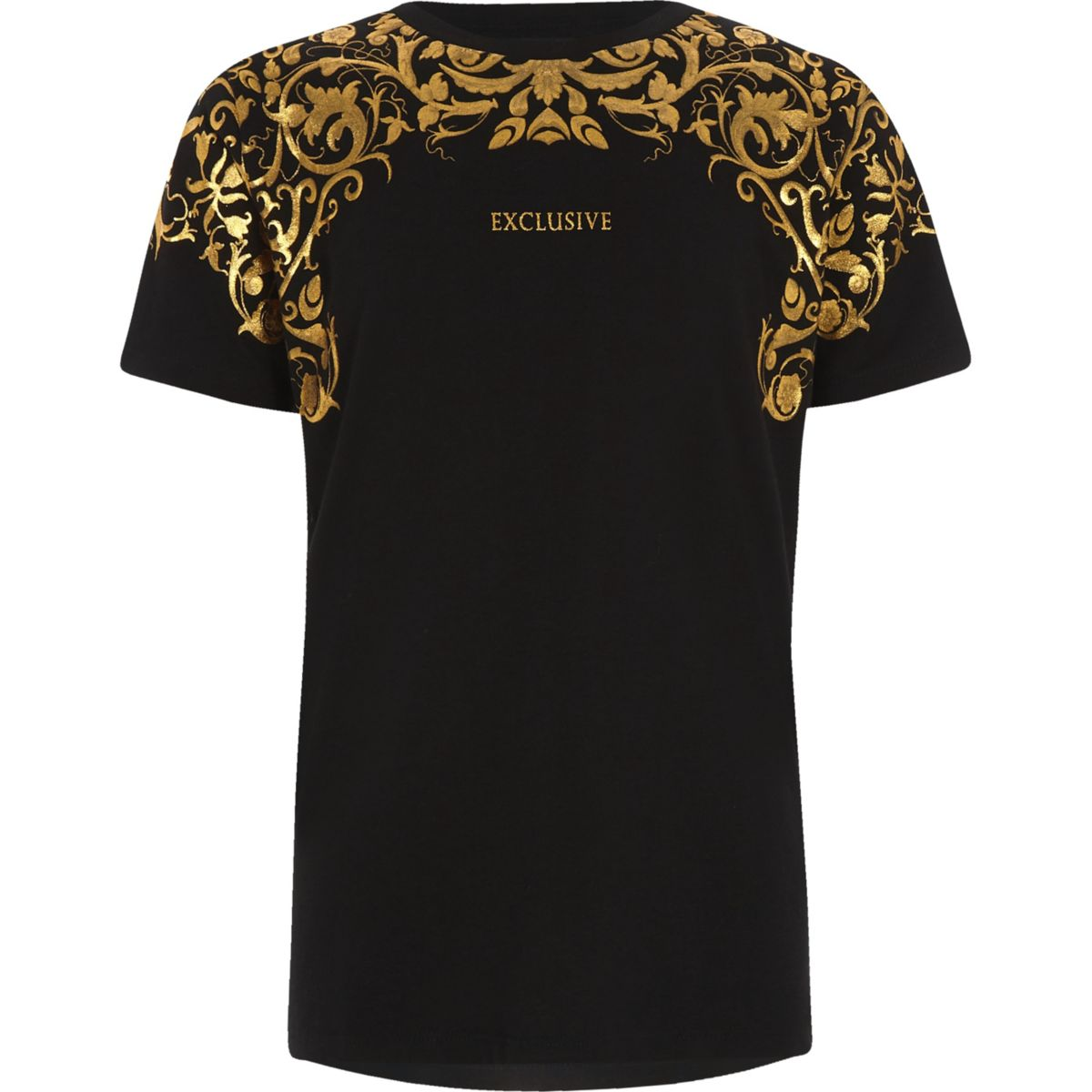 Boys 'exclusive' gold foil print T-shirt