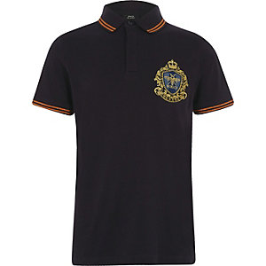 Boys navy embroidered badge tipped polo shirt