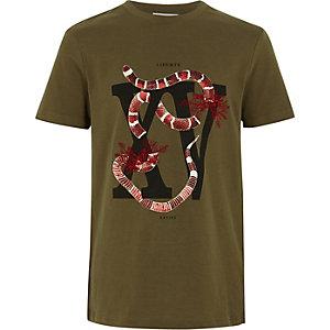 T-shirt kaki à imprimé serpent pour garçon