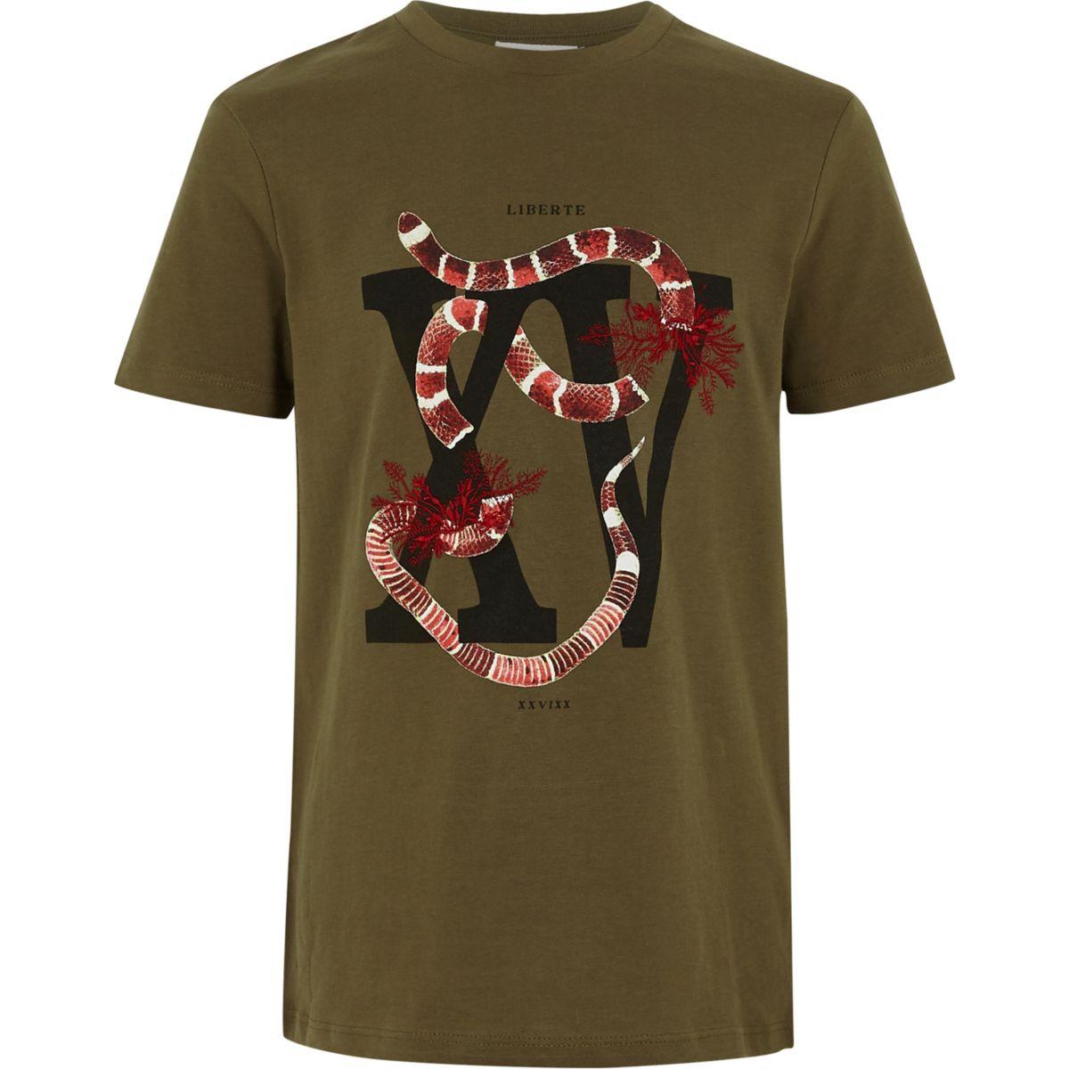 Boys khaki snake print T-shirt
