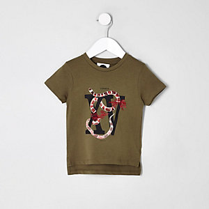 Mini boys khaki snake print T-shirt