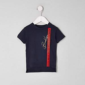 Mini boys navy 'Brooklyn' tape T-shirt