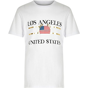Boys white 'Los Angeles' print T-shirt
