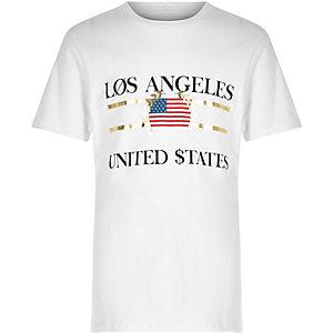 T-shirt à imprimé «Los Angeles» blanc pour garçon