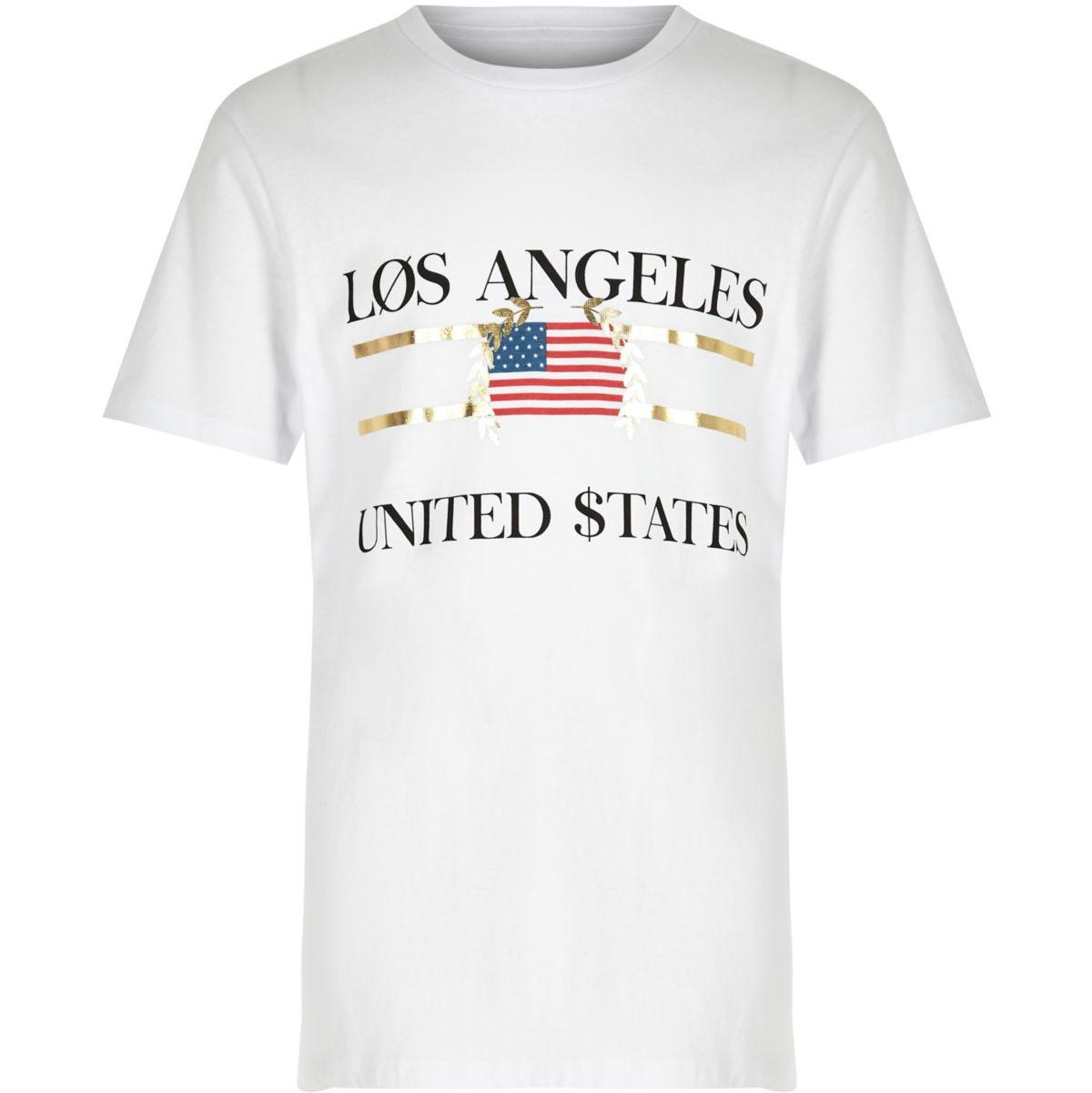 Kids white 'Los Angeles' print T-shirt