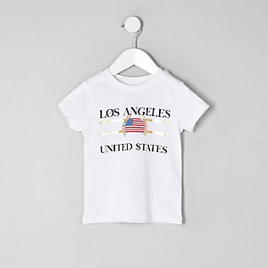 Mini boys white 'Los Angeles' print T-shirt