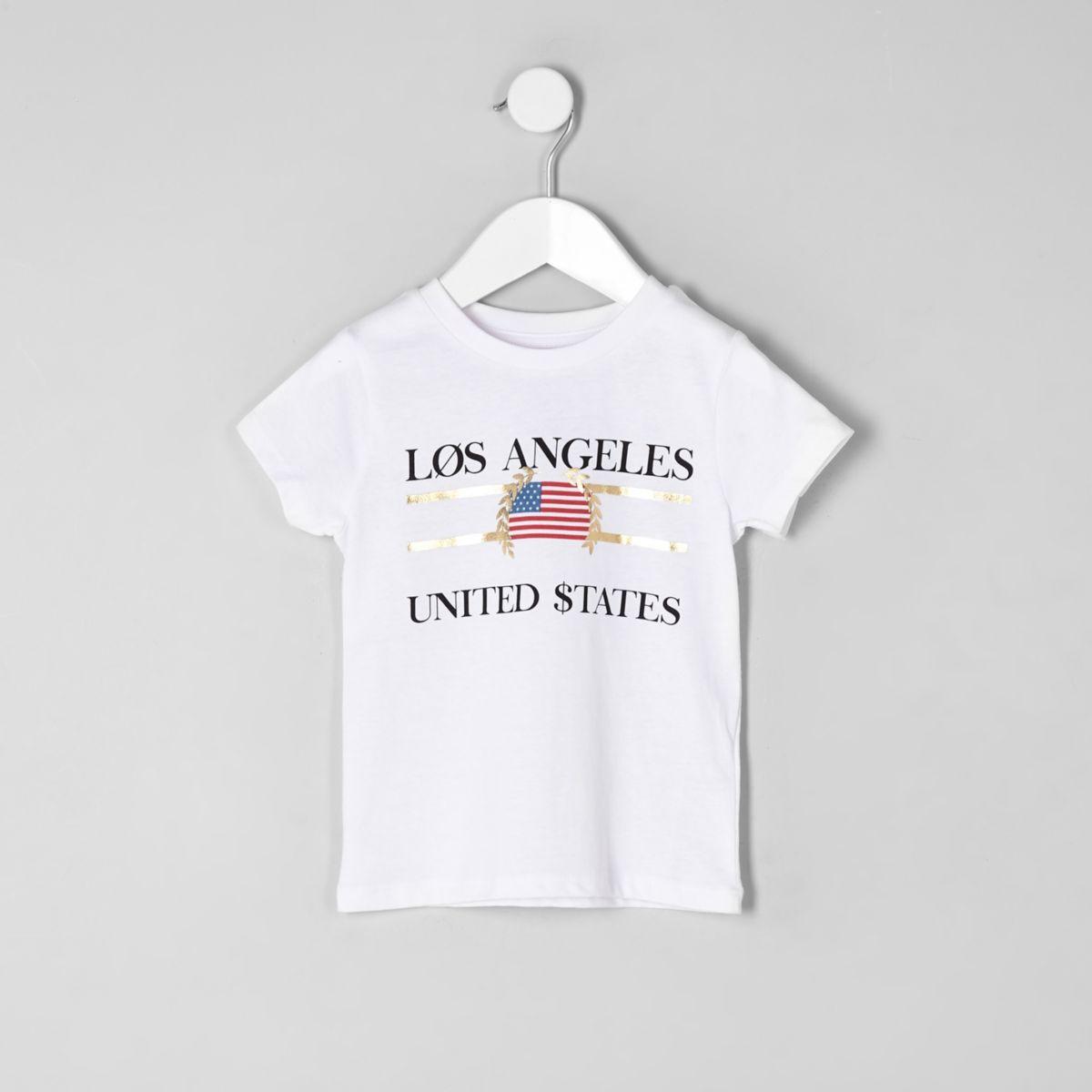 Mini kids white 'Los Angeles' print T-shirt