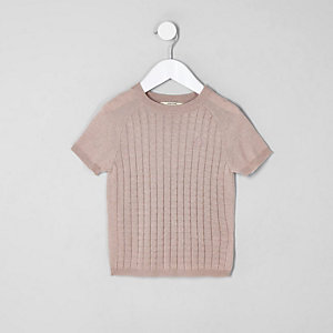 T-shirt en maille rose mini garçon