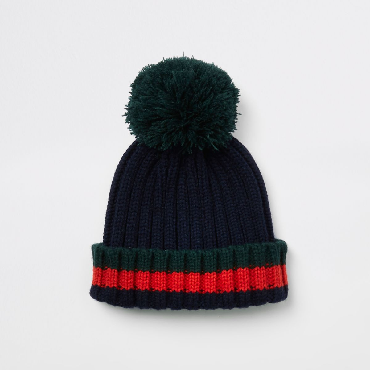 Boys navy striped bobble top knot beanie