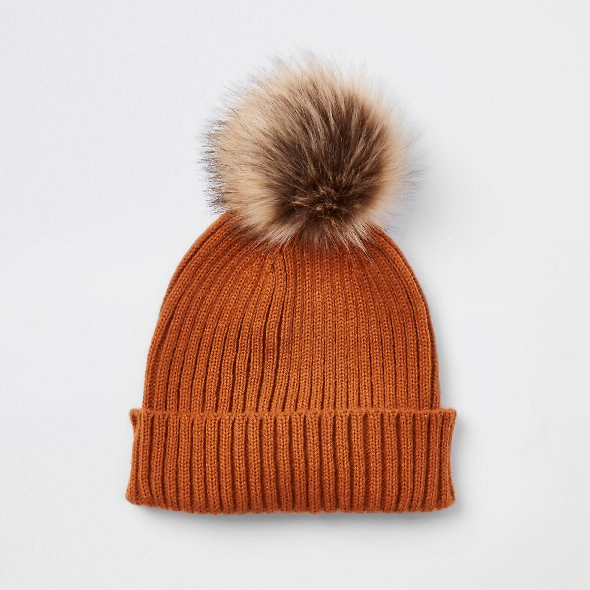 Boys rust faux fur bobble beanie hat