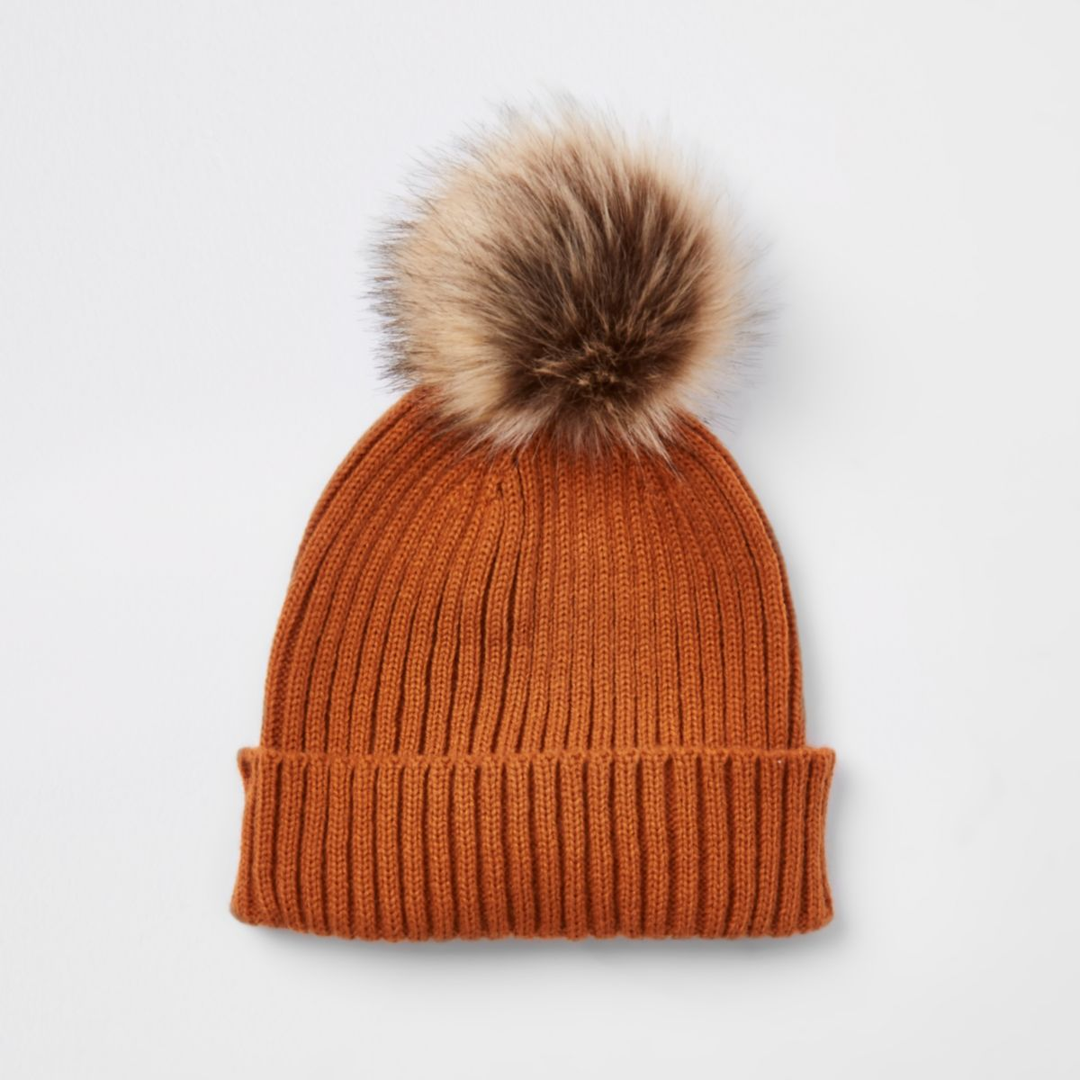 Boys rust faux fur bobble beanie hat