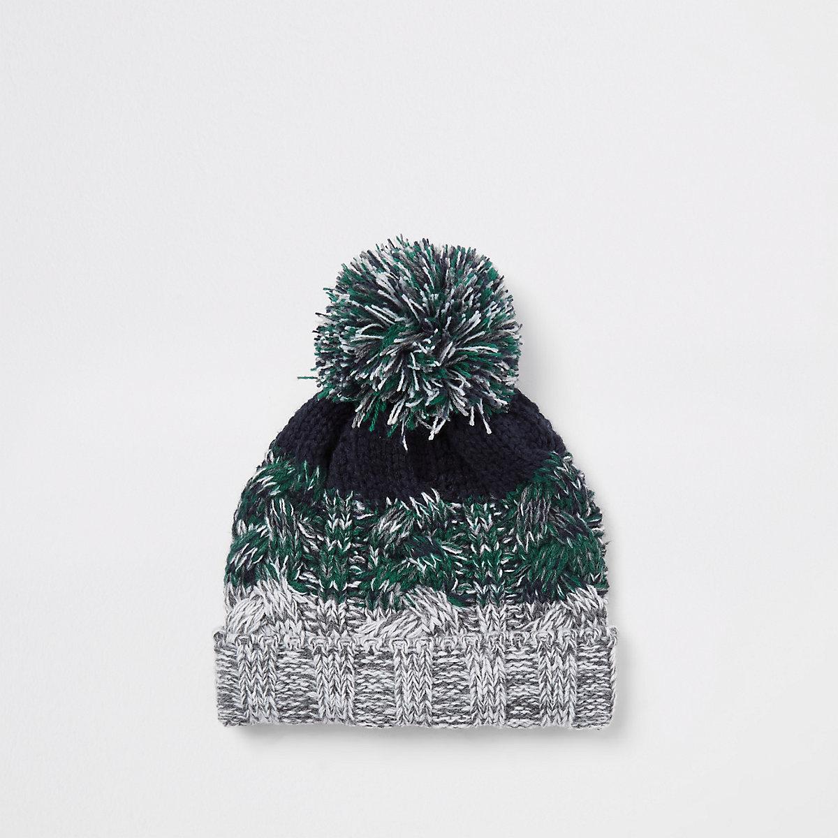Mini boys green knit stripe beanie hat