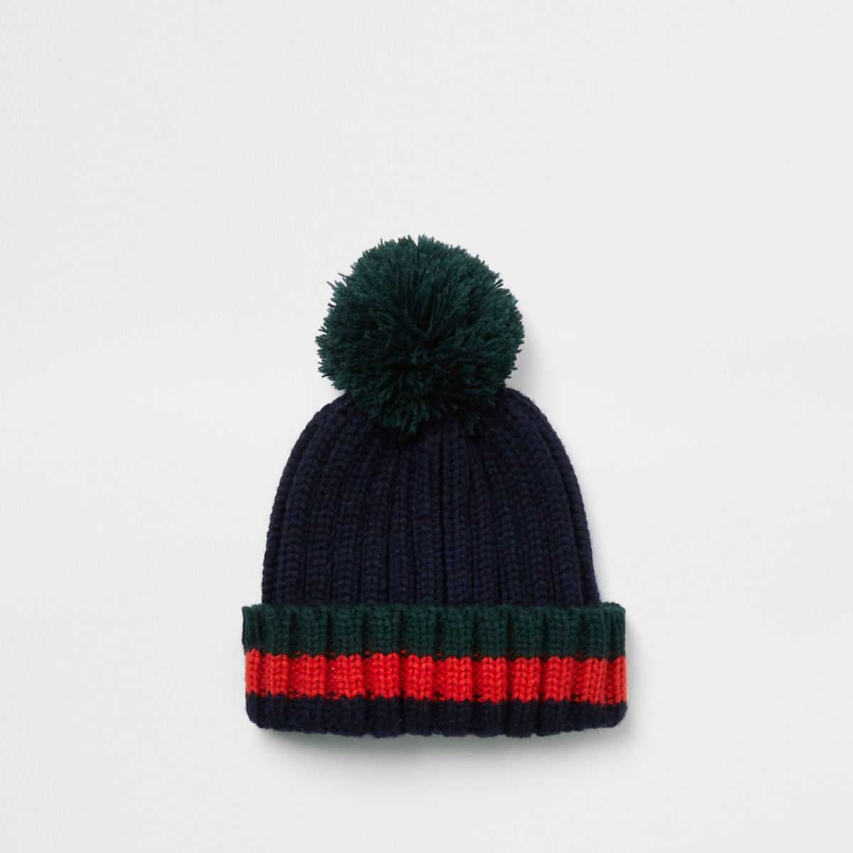 Mini boys navy striped bobble top knot beanie