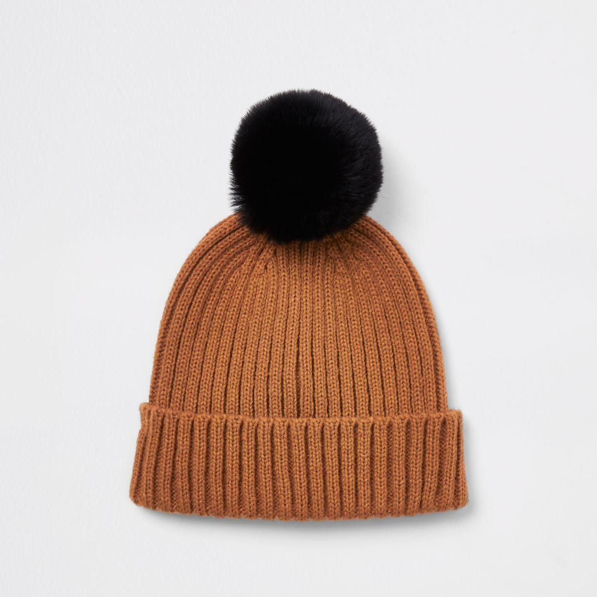 Mini boys rust faux fur bobble beanie hat