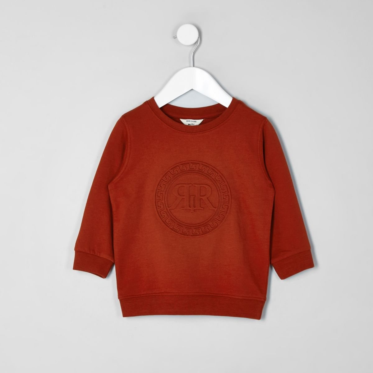 Mini boys orange RI embossed sweatshirt