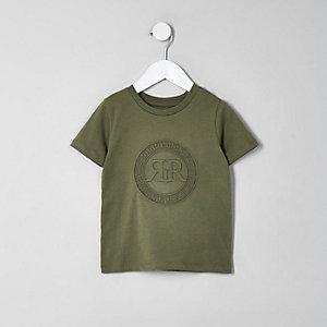 Mini - Kaki T-shirt met RI-logo in reliëf voor jongens