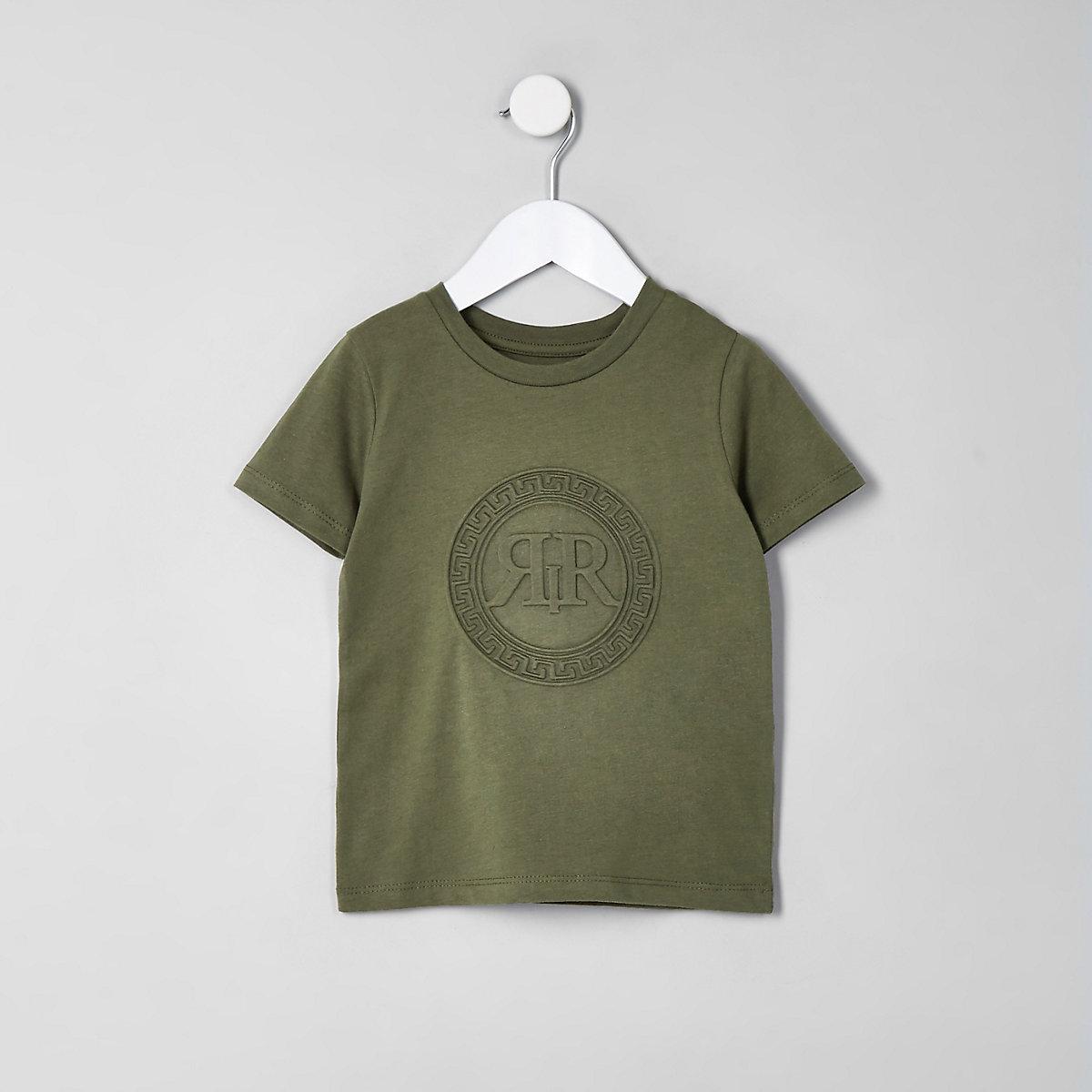 Mini boys khaki RI embossed T-shirt