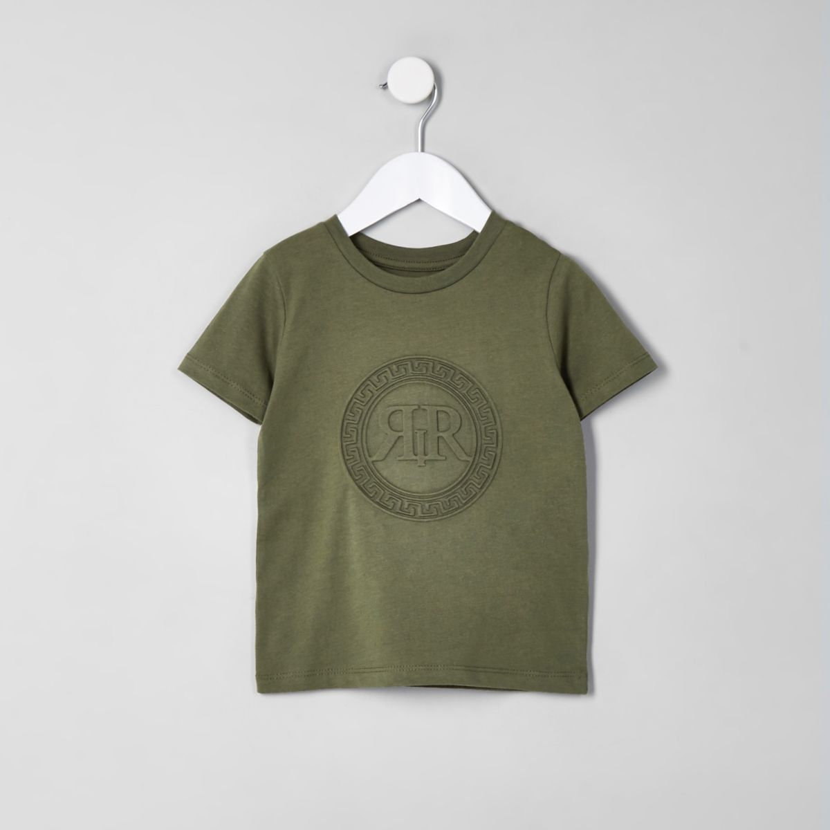 Mini boys khaki RI embossed T-shirt