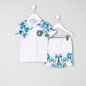 Mini - Wit gebloemde mesh T-shit outfit voor jongens
