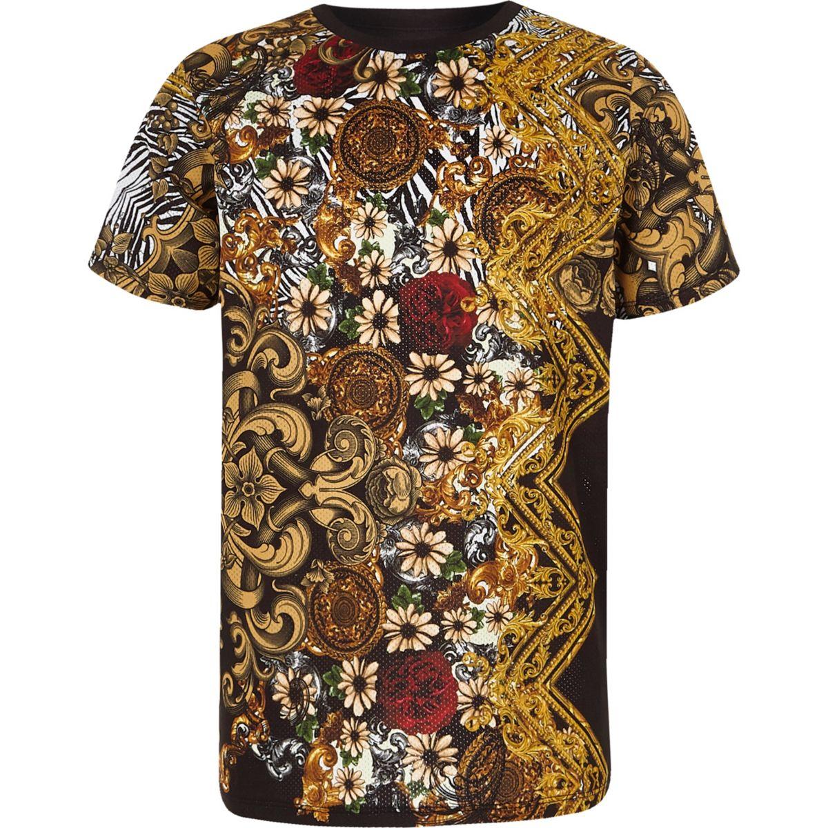 Boys black mesh print T-shirt