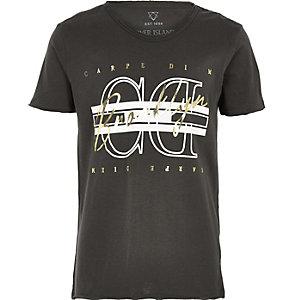 Boys black 'carpe diem' foil print T-shirt