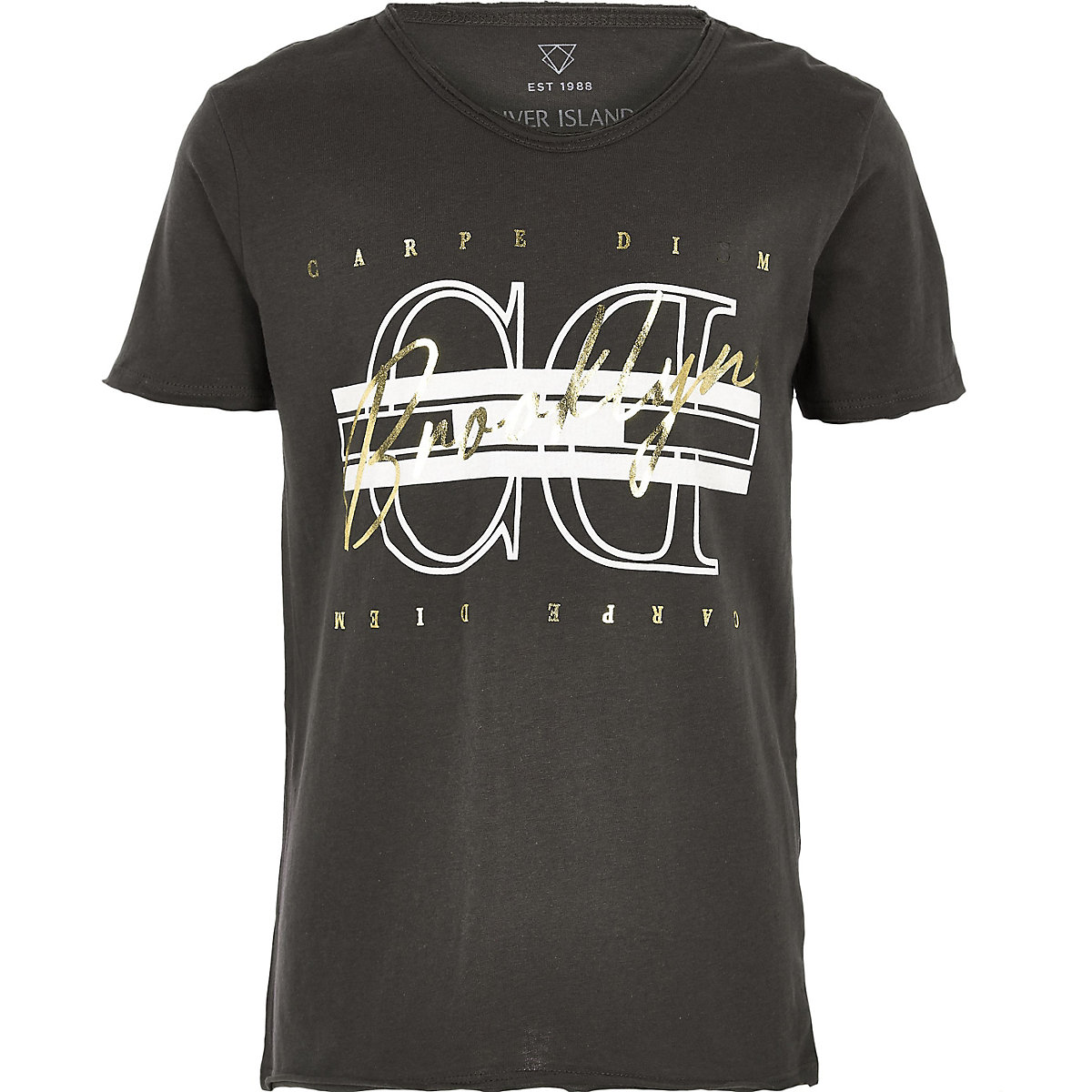 Boys black 'carpe diem' foil print T-shirt