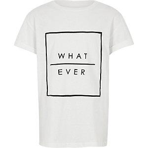 Wit T-shirt met 'what ever'-print voor jongens